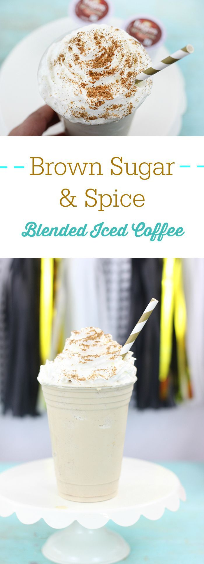 Brown Sugar & Spice Blended Iced Coffee at Home.