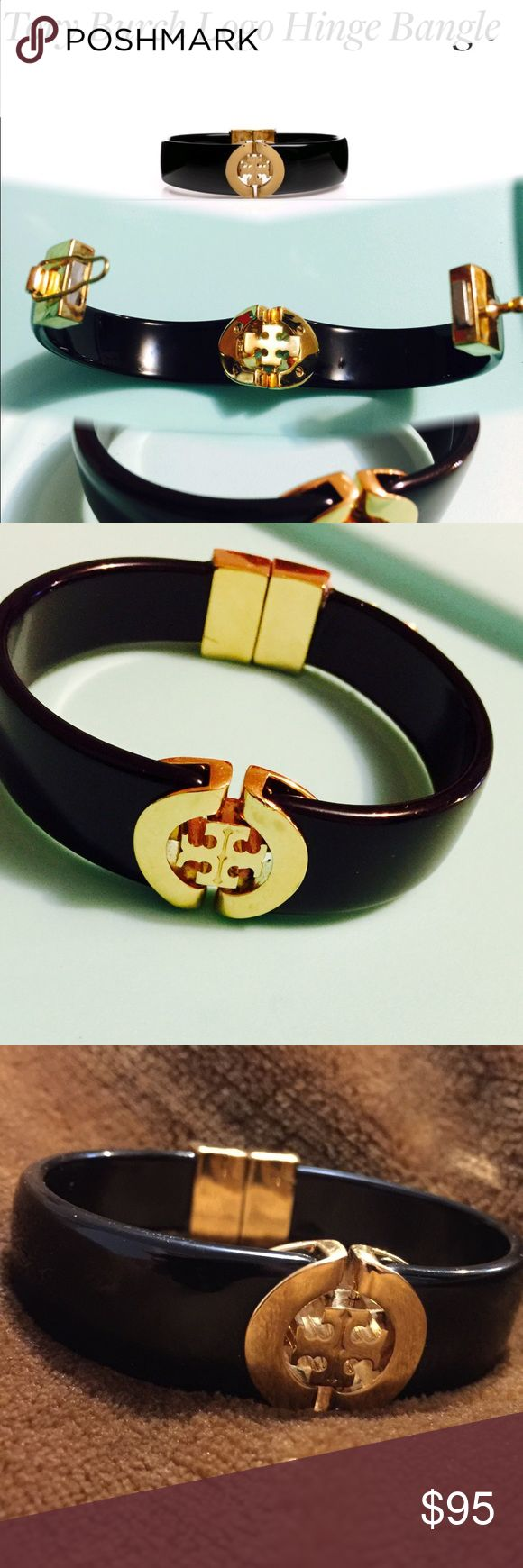 Tory Burch Tory Burch hinged Logo Bangle in black and logo in gold. Excellent used condition has lil scratch inside of the clasp but thats all. Authentic Tory Burch # jewelry # bracelet # black and Gold Bangle 💜 (Shop and feel good about it 😁. Part of the money u spend goes to Purple Heart Foundation 💜) Tory Burch Jewelry Bracelets