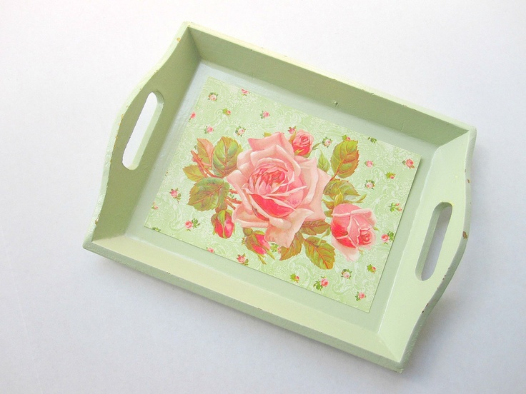 shabby chic green tray