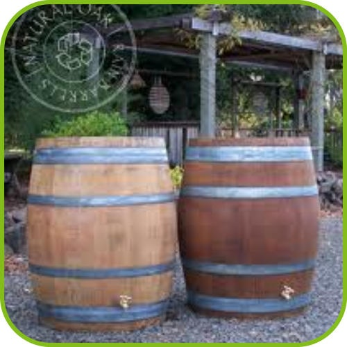 """Authentic recycled Oak Barrels from Kentucky! Closed system, NO over-flow, unlike most  """"rain barrels""""  no maintenance!!"""