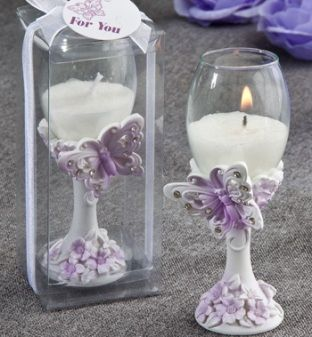 Butterfly Design Toasting Flute Candle Favors