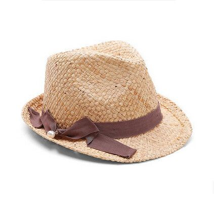 Brown bow panama straw hat for women sun hats for summer