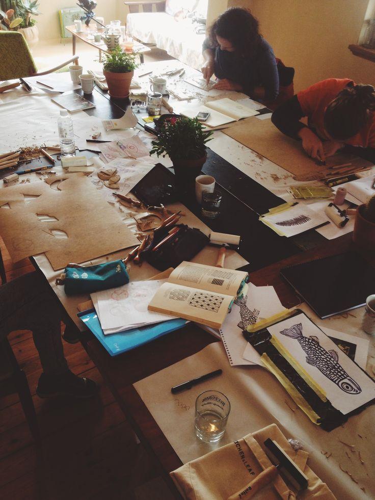 Working hard making designs at the Lichen & Leaf block printing workshop. http://lichenandleaf.com/pages/workshops