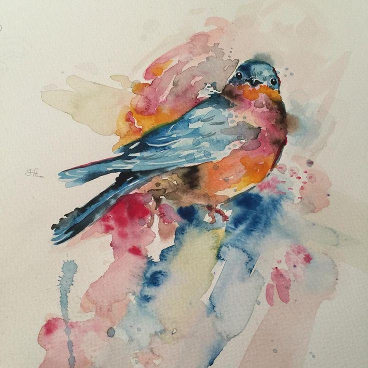 Bule bird :) - #타투 #그라피투 #타투이스트리버 #디자인 #그림 #디자인 #아트 #일러스트 #tattoo #graffittoo #tattooistRiver #design #painting #drawing #art #Korea #KoreaTattoo #bird #watercolor #watercolortattoo #새 #수채화 #수채화타투