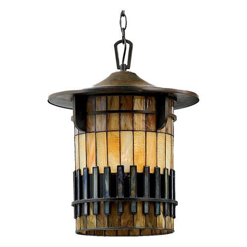 Quoizel TFAR1915BE Autumn Ridge 19-Inch Jumbo Hanging Lantern with Tiffany Glass, Bergamo Finish by Quoizel. $550.15. From the Manufacturer                Enjoy the beauty and drama of art glass on the outside of your home. This design was inspired by the Arts and Crafts movement, and features a handcrafted, genuine art glass shade with an attractive, three-dimensional geometric pattern in rich earthtones.                                    Product Description              ...