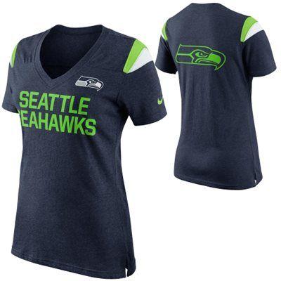 Women's Seattle Seahawks Nike College Navy Fan Top V-Neck T-Shirt