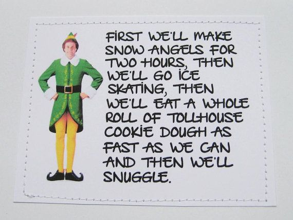 Elf quote Christmas card. Then we'll snuggle. on Etsy, $6.00
