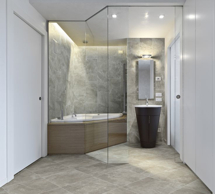 a beautiful grey tile bathroom from our habitat series inspired by travertine