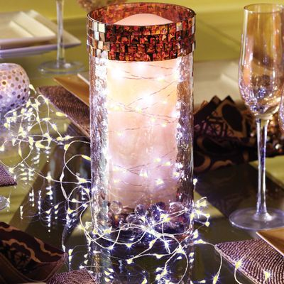 Clear Glimmer Strings Centerpieces, Love this and Christmas