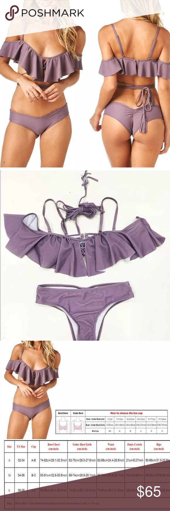 • Lavender Daisy • Flouncy Tassel Tie #Bikini • Lavender Daisy • Flounce #Bikini / Available in Small, Medium + Large • Also available in Black in Separate Listing • Flouncy ruffled top • Adjustable straps • Tassel ties for midsection • Minimal coverage shirred back bottoms • Size Chart Available for Reference • 2017 Bathing Suit Style Trend • Spring Break / Summer / Festival / Boho chic / Sexy Swimsuit Swim Bikinis