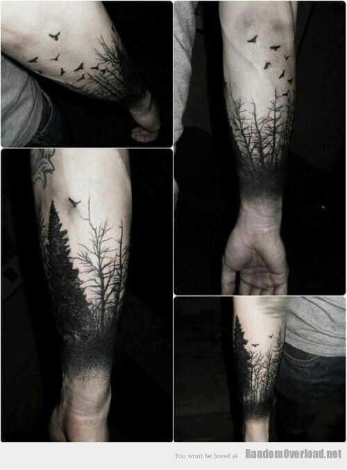 Flock of Birds | Thick Forest of Trees | Black Tattoo | Shadows | Tattoos | Ink Inspiration | Mens Tattoo Bird | Tree