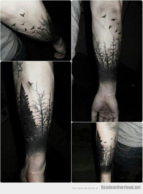 Flock of Birds | Thick Forest of Trees | Black Tattoo | Shadows | Tattoos | Ink Inspiration | Mens Tattoo Bird | Tree