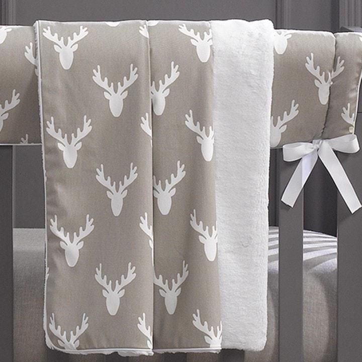 Rustic Farmhouse Baby Bedding - Woodland Nursery - Gender Neutral Nursery -  Buck Woodland (Taupe) Minky Receiving Blanket