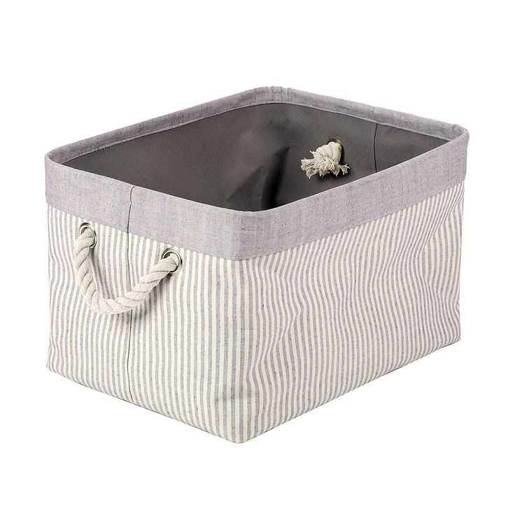 Grey Striped Basket | Dunelm