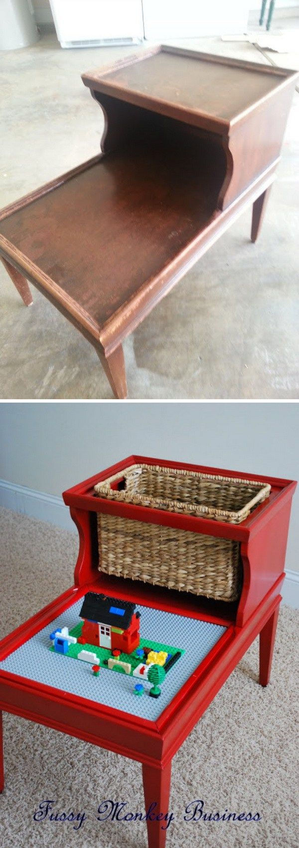 Amazing before and after!  DIY Lego Table Made out of an Old Table: Transfer an old table that you don't want to use anymore into this lego table. It is perfect in the playroom!