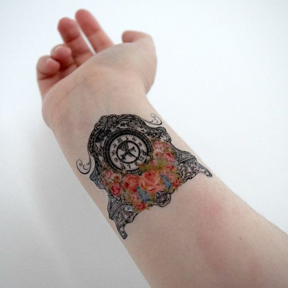 Temporary Tattoo - Floral Vintage Clock Vintage by Siideways