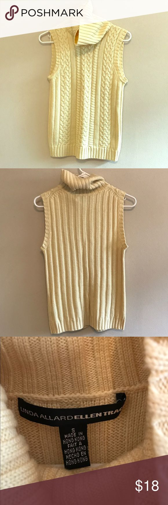 Ellen Tracy Pale Yellow Sweater S Classic sleeveless cable knit turtleneck sweater from Linda Allard Ellen Tracy! Excellent condition, no stains, no pilling, no holes! Ellen Tracy Sweaters Cowl & Turtlenecks