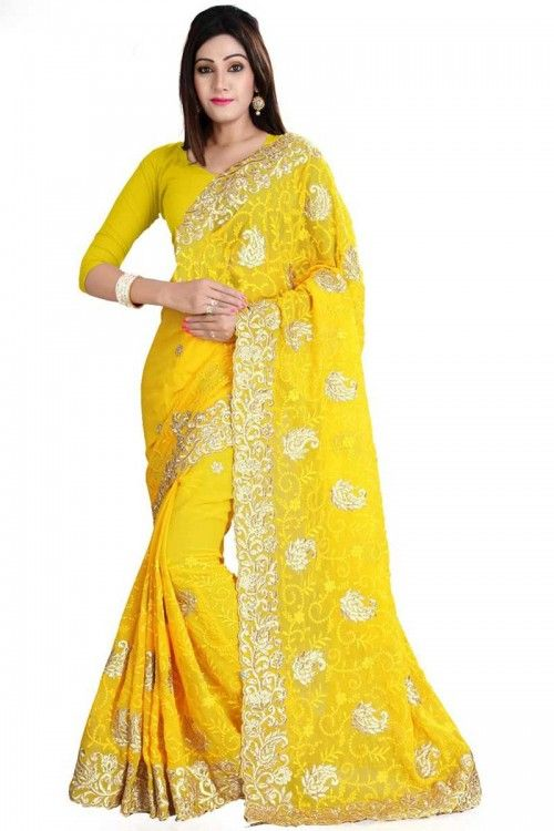 Yellow Georgette Saree with Georgette Blouse Online    http://www.andaazfashion.co.uk/womens/sarees/