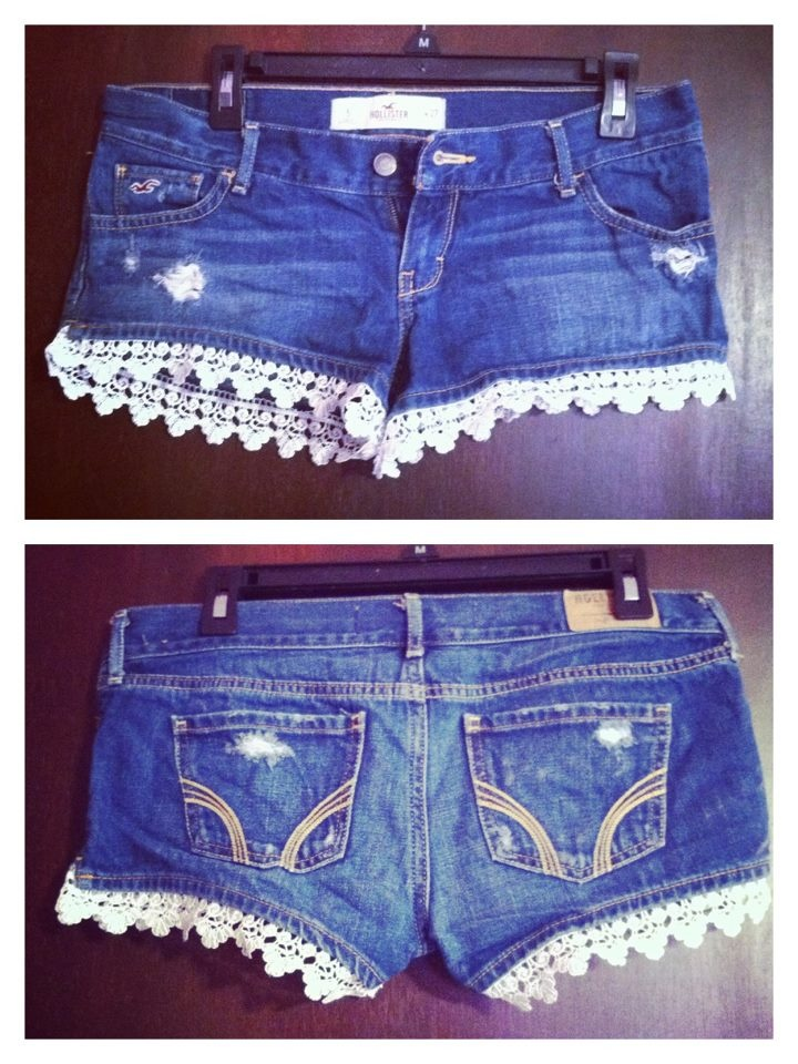 Holister sz 5 distressed shorts with white lace trim. $25. Find Treasures West on Facebook.