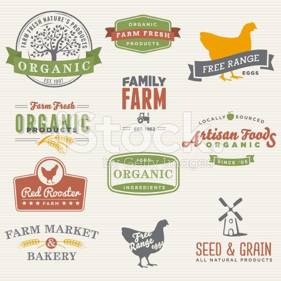 Set Of Labels For Natural Farming: Organic Farming , Farm Logo, Farm