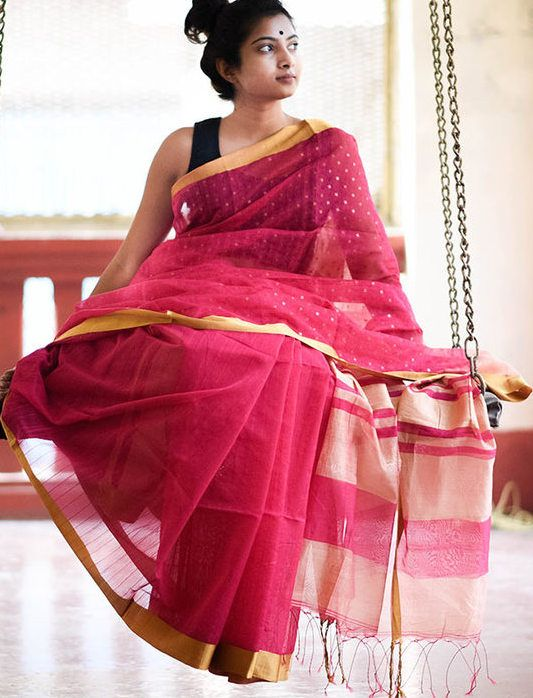 Shimmering Deep Pink Saree with Gold Borders