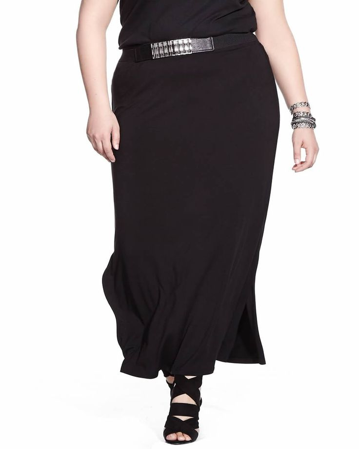 This Plus Size Maxi Skirt is made of rayon and spandex. A side slit adds style to this skirt. It goes with any style top and is perfect for the office or going out on the weekends.