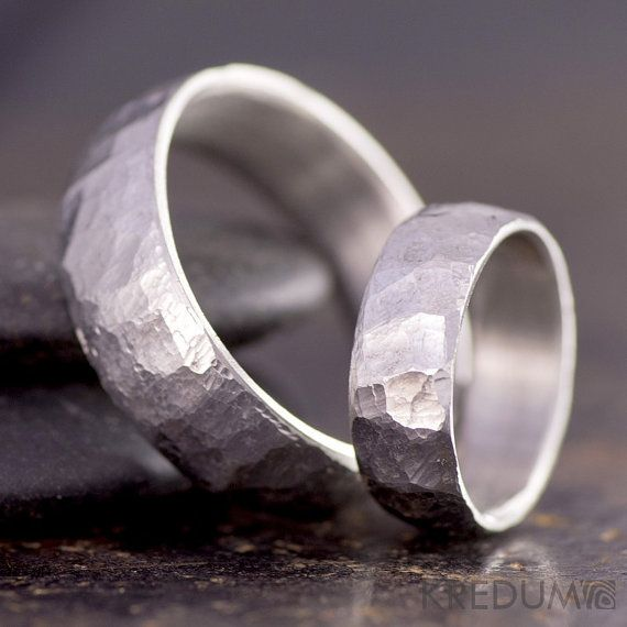 Rough Wedding Handmade Band Womens Mens Stainless Steel Ring Male Engagement Female For Him Her Bg Clic