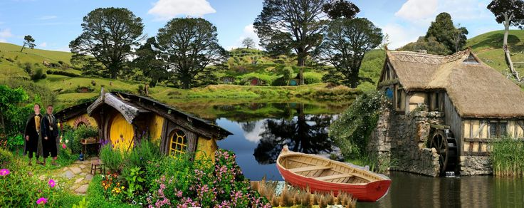 Welcome to the shire. PAINT STYLE. Complete with red rowboat and awkward hobbits :)