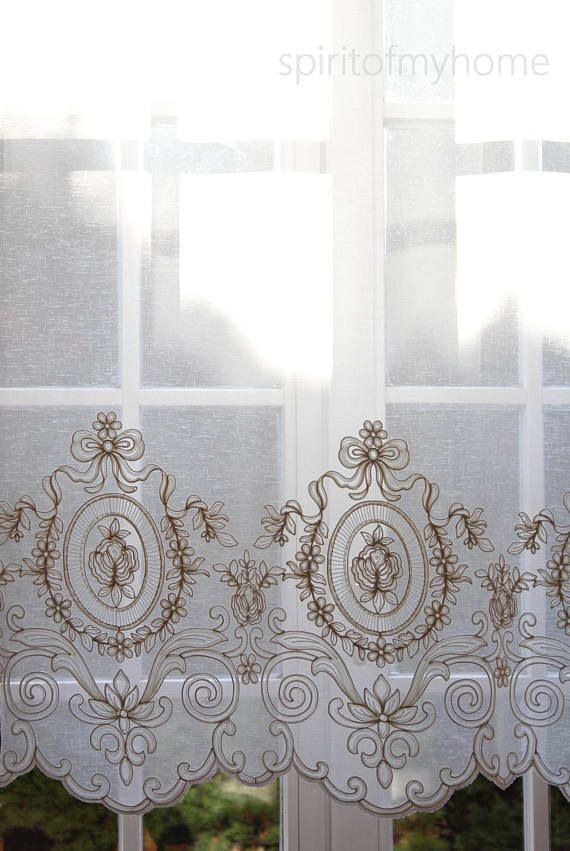 LOURDES' French Shabby Chic Embroidered Sheer Panel