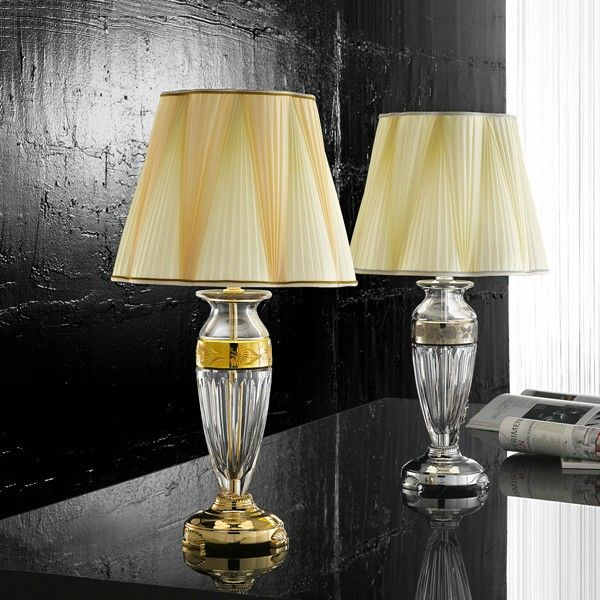 Beautiful #table #lamp made from #crystal base with pleated silk shade #lighting #design #homedecor