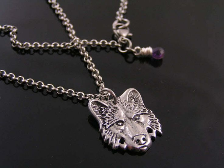 Wolf Pendant Necklace, Wolf Jewelry, Wolf Head Necklace, Wolf Pendant, Wolf Necklace, Amethyst Necklace, Australian Shops, Aussie Sellers by ClassicMinimalist on Etsy