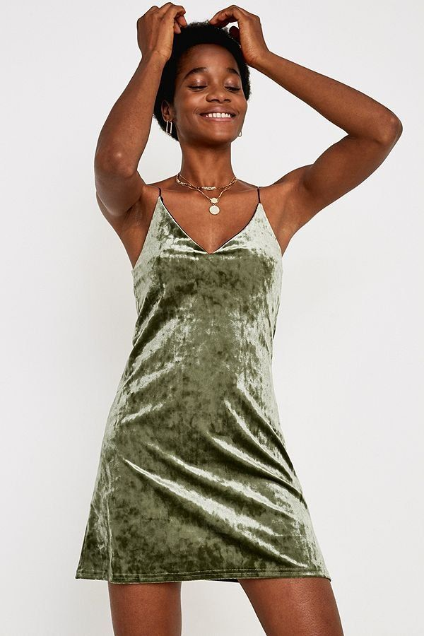 14975507345d Women's Outfit Inspiration | Urban Renewal Remnants Green Velvet Cami Dress  | Urban Outfitters | Women's | New #uoeurope #urbanoutfitters #uoonyou