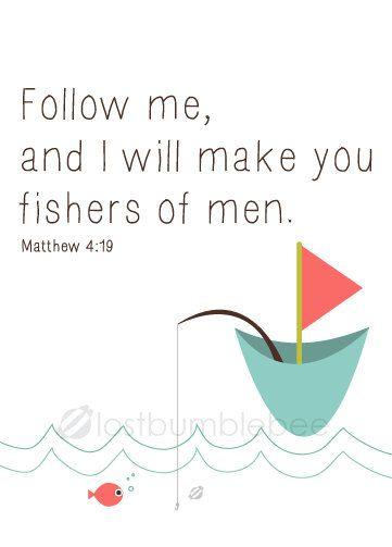 Cute new print: Fishers of Men Matthew 4:19 by #LostBumblebee on Etsy, $5.00