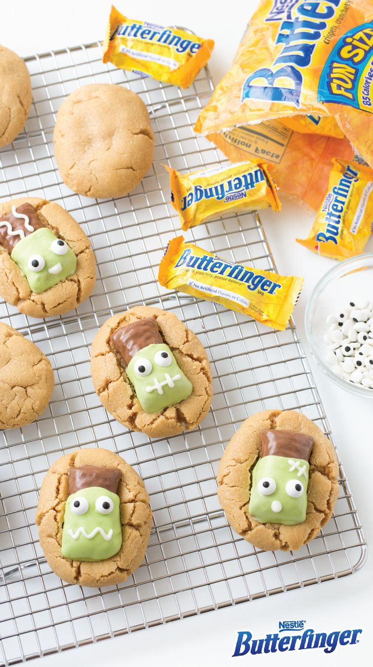 We're loving these adorable Butterfinger Frankenstein Cookies, just in time for Halloween! This tasty fall dessert uses peanut butter cookies; melted almond bark; candy eyes; and the crispety, crunchety, peanut-buttery taste of BUTTERFINGER® Fun Size candy bars to create a festive Halloween sweet that's almost too cute to eat. Click here for the full easy recipe.