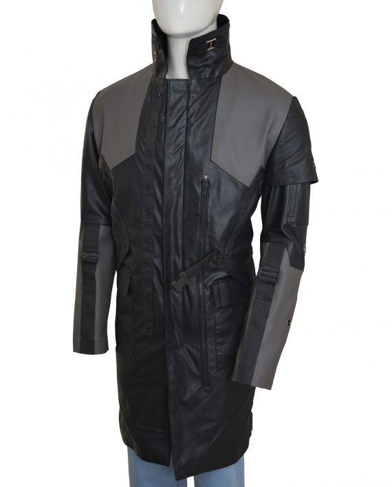 Deus Ex Adam Jensen Black Leather Coat
