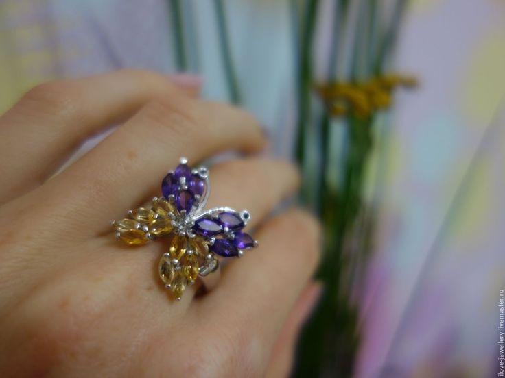 """Купить """"Batista""""-сереб. кольцо Бабочка с цитринами и аметистами - комбинированный, бабочка кольцо, бабочка серебро"""