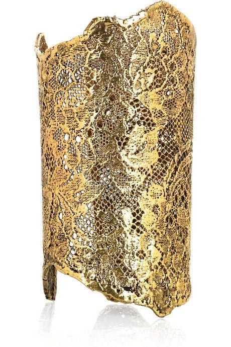 ::gold lace cuff from Aurélie Bidermann::: Lace Cuffs, Bidermann Gold, Gold Cuffs, 18Karat Golddip, Golddip Lace, Gold Lace, Aurel Bidermann, Golden Lace, Gold Dips