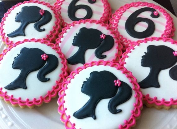 Barbie Silhouette and Number decorated cookies in hot pink and black- perfect for your birthday party favor. $42.00, via Etsy.