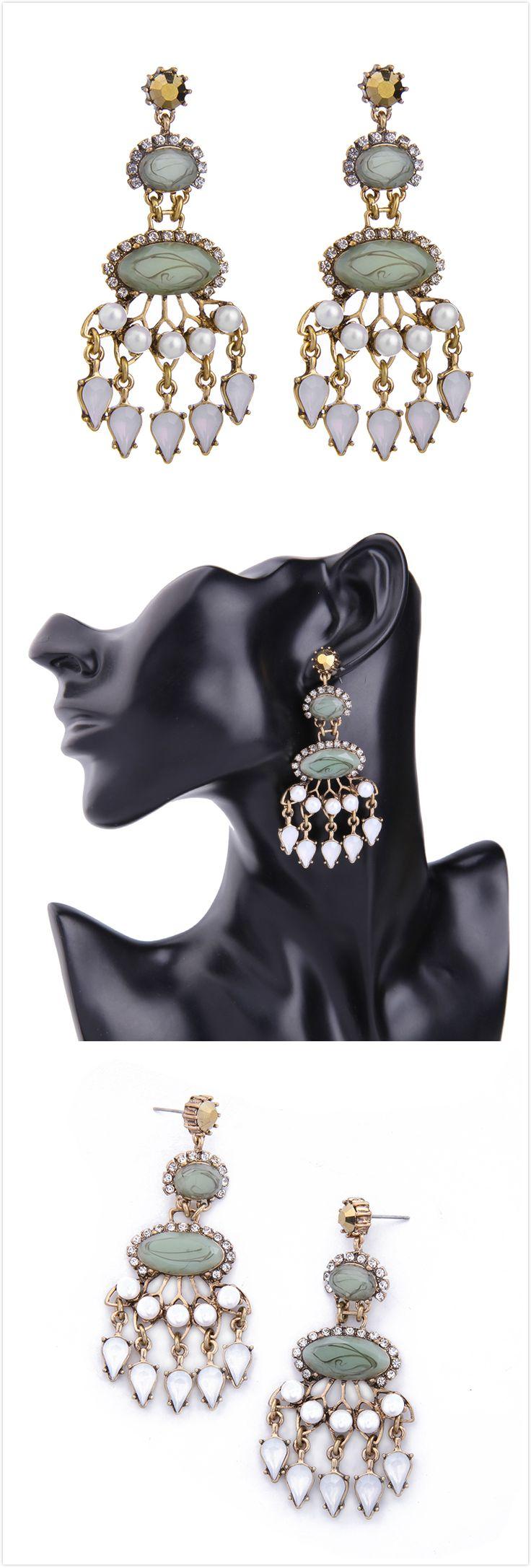Free Shipping Rhinestone Green Gemstone Pearl Pendant Earrings For Women
