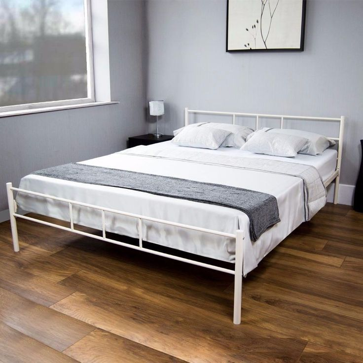 details about white metal bed frame luxury 5ft king size bed double comfortable no mattress uk - White Metal Bed Frame