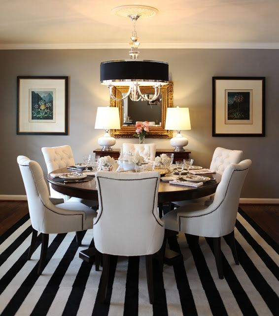 6th Street Design School | Kirsten Krason Interiors : Feature Friday: Knight Moves - Dining Room, Upholstered Chairs, Black and White Rug