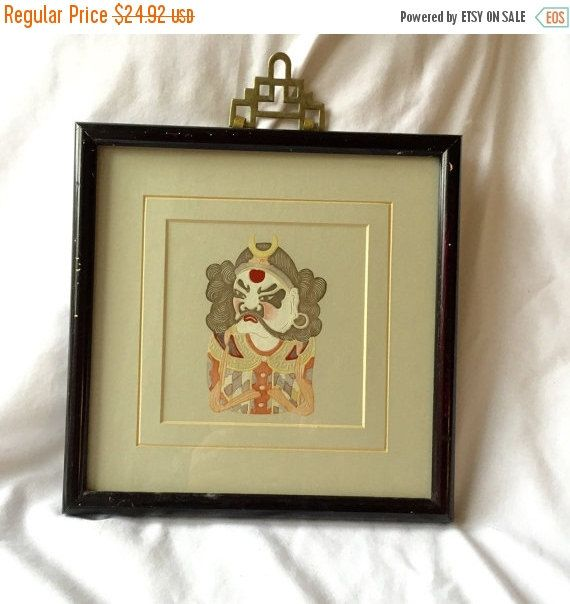 Vintage Asian Framed Print framed black wooden frame with brass handle by StudioVintage on Etsy
