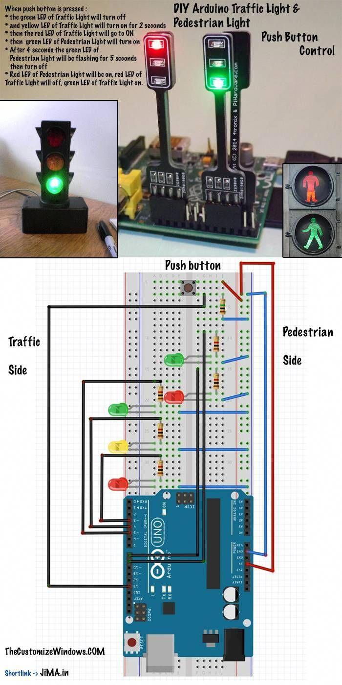 Diy Arduino Traffic Light Pedestrian Light Push Button Control Arduino Projects Traffic Light Arduino