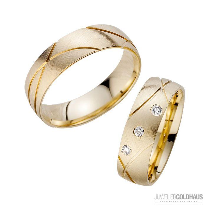 Superschön mit Extravagante Linien Matt mit 3 Diamanten #Trauringe #Eheringe Gold Gelbgold HR187