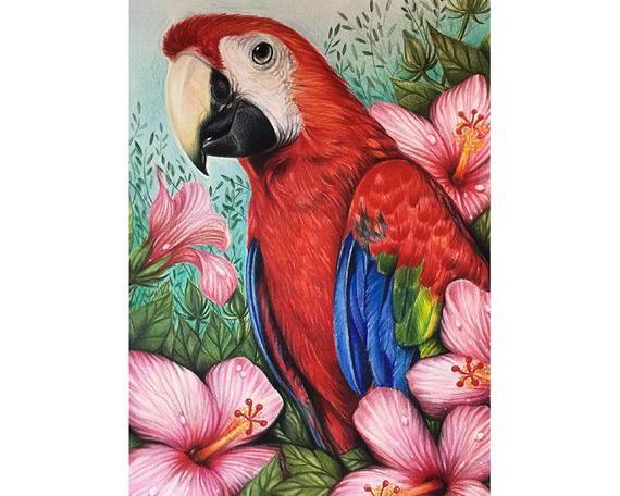 Parrot Full Drill DIY 5D Diamond Painting Cross Stitch Kits Embroidery Mural Art