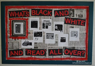 "|What's Black and White and Read All Over?"" ~~~~~~~~~~~~~~~~~~~~~~~~~~~~~~ great idea for newspaper/current events bulletin board"
