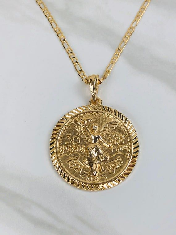 Mexican Gold Chains : mexican, chains, Layered, Centenario, Necklace, Mexican, Chain, Necklace,, Chains