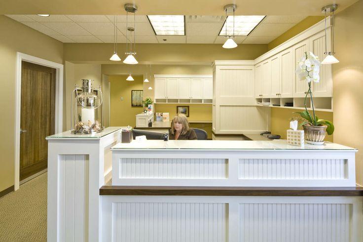 Warm And Inviting Bead Board Reception Desk Reception