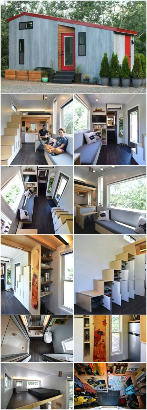 """This Adventurous Couple Starts a New Journey in Their 204 Sq. Ft. Teeny Tiny House - Samantha and Robert are known for going on adventures all over the world so when it came to settling down and building a home, they knew there wasn't going to be anything """"settling"""" about it! They designed their 204 square foot home and built it on the weekends over the course of 14 months."""