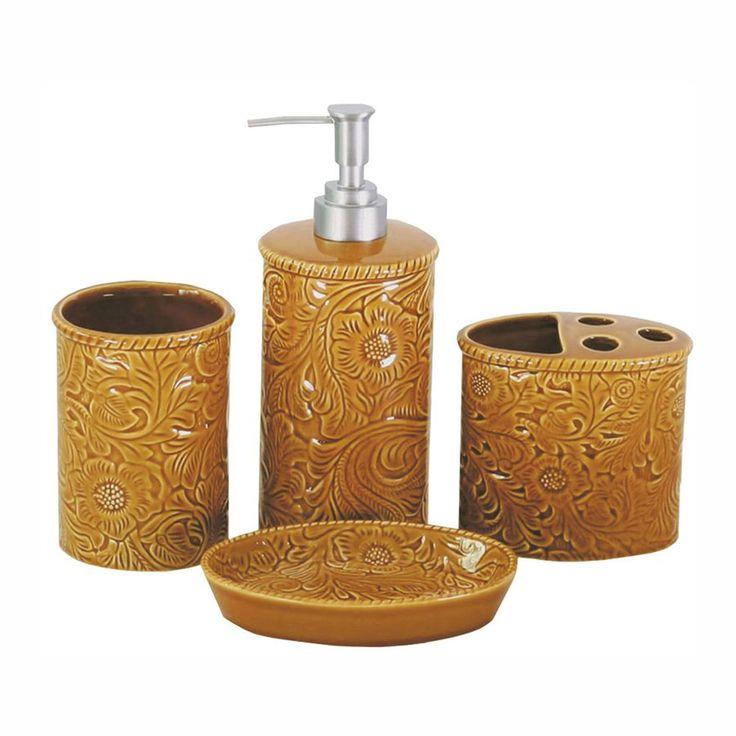 Mustard Tooled Ceramic Bath Set   4 Pcs